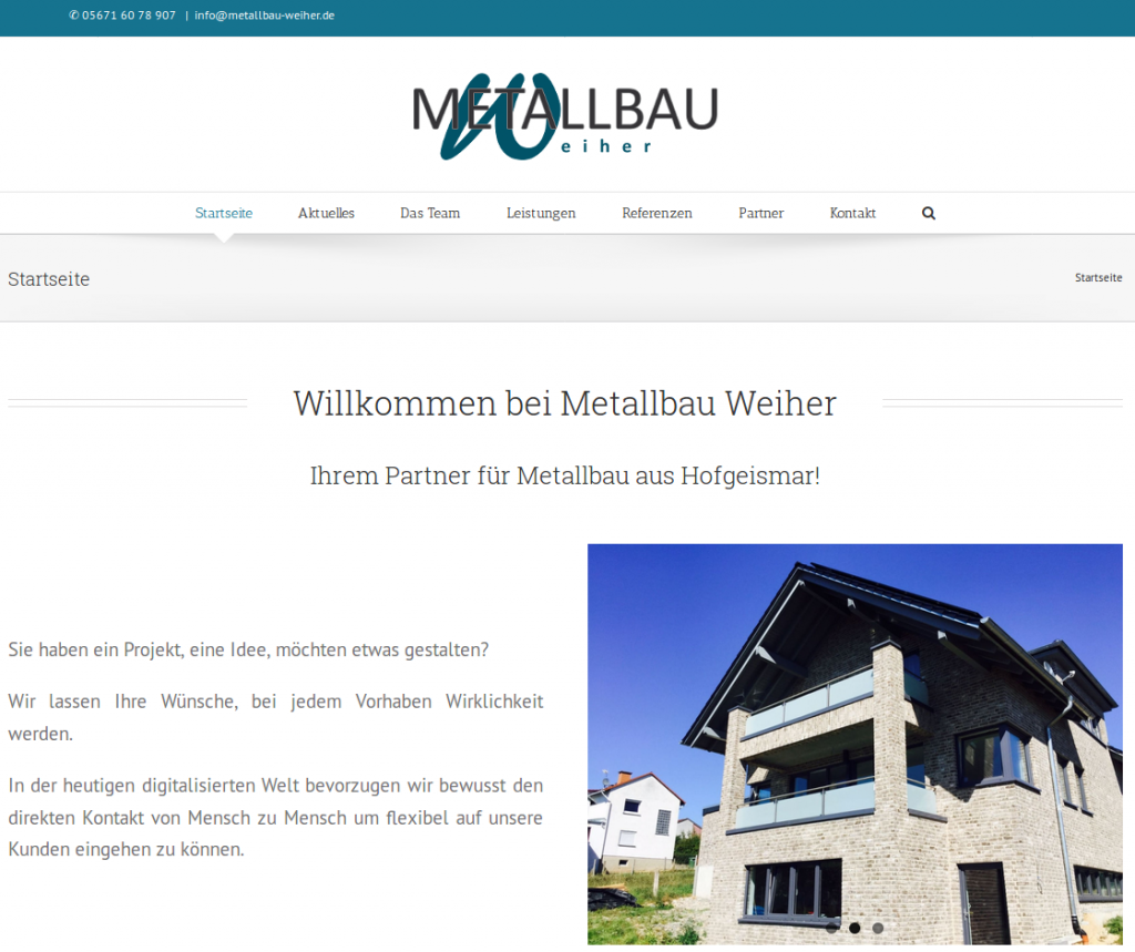 "Screenshot ""Webseite Metallbau Weiher"""